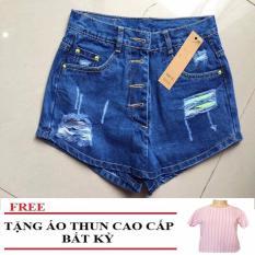 Quần Short Jean Gỉả Váy Rách Đùi Cao Cấp