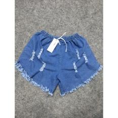 Quần short nữ jean lưng thun rách xanh jean