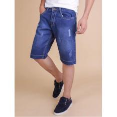Quần Shorts Jeans Xước Nhẹ Nam Thời Trang(xanh)
