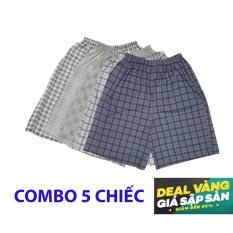 Quan sot ngan - quần short nam Caro26 (Combo 5 chiếc quần )- mặc ngủ, mặc ở nhà, chất cực mát - Hàng Việt Nam Xuất Khẩu.