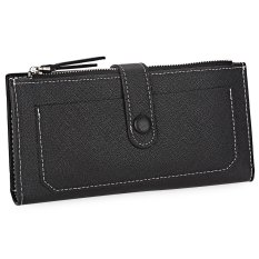 S L Guapabien Pu Leather Snap Fastener Zipper Layer Women Long Wallet Color Black Intl Chiết Khấu Trung Quốc