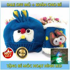 Set mũ+ khăn len lông cừu cho bé+móc hoạt hình led( xanh nước biển)