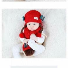 Set Mũ len tóc giả có khăn cho bé từ 6-24 tháng(đỏ)