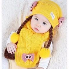 Set Mũ len tóc giả có khăn cho bé từ 6-24 tháng(vàng)