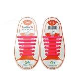 Set of 12pcs Children No Tie Silicone Elastic Shoelace Sneaker Shoe Laces (Rose Red) - Intl
