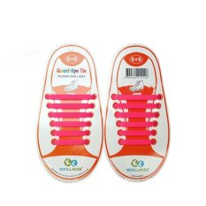 Giá bán Set of 12pcs Children No Tie Silicone Elastic Shoelace Sneaker Shoe Laces (Rose Red) - Intl