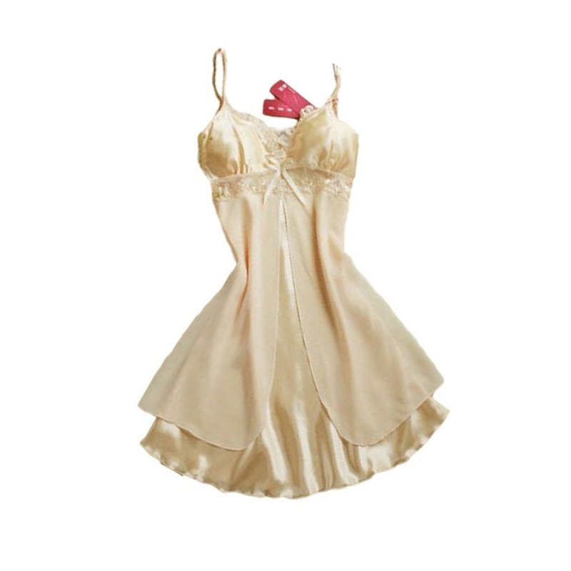 Nơi bán Lụa Phối Ren Voan Váy Ngủ Áo Choàng (Màu Be)-intl