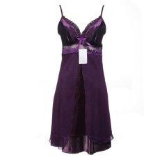 Lụa Phối Ren Voan Váy Ngủ Áo Choàng Màu Tím-intl