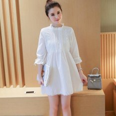 Small Wow Maternity Going Out Stand Neck Solid Color Cotton Above Knee Dress White - intl