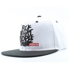 Hình ảnh Snapback hats adjustable street skateboard hip hop baseball cap falt hat for men and women White - intl