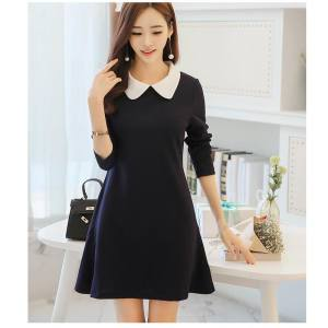 Hình ảnh Spring and Summer New Style Korean-style Women's Fashion Slim Fit Slimming Effect Doll Collar Long-sleeved Dress Bottoming Dress - intl