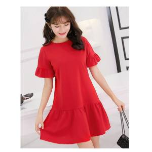 Hình ảnh Spring and Summer New Style Women's Short-sleeved Korean-style Wild Slim Fit Slimming Effect Plus-sized Fashion Knitted Dress - intl