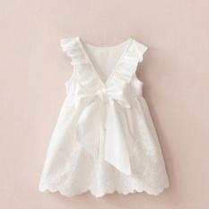 Giá bán Trẻ Em mùa hè Đầm Công Chúa Sâu V Không Tay Màu Rỗng Bé Gái Váy Phối Ren-quốc tế