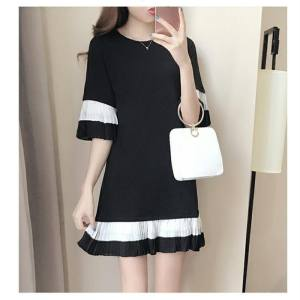 Hình ảnh Summer Korean-style Casual Straight Student Tide Trumpet Sleeve Dress Long Section Slimming Effect Art Pleated Skirt - intl