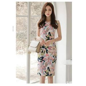 Hình ảnh Summer New Korean Version of The Temperament Round Neck Slim Fashion Printed Sleeveless Package Hip Dress Long Section of Female Tide - intl