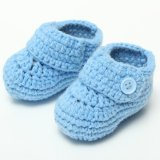 Sweet Boy Baby Gray Blue Infant Crib Crochet Handworked Casual Socks Shoes 0-10M BLUE - intl
