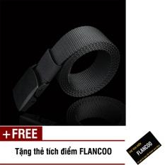 Hình ảnh Thắt lưng nam vải bố khóa nhựa Flancoo S0641 (Dây đen) + Tặng kèm thẻ tích điểm Flancoo