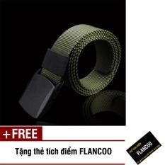 Thắt lưng nam vải bố khóa nhựa Flancoo S0642 (Dây xanh rêu) + Tặng kèm thẻ tích điểm Flancoo