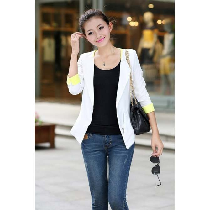 Toprank Blazer Women OL Office Slim Casual Half Sleeve Coat Jacket Suits Blazers Top ( White ) - intl