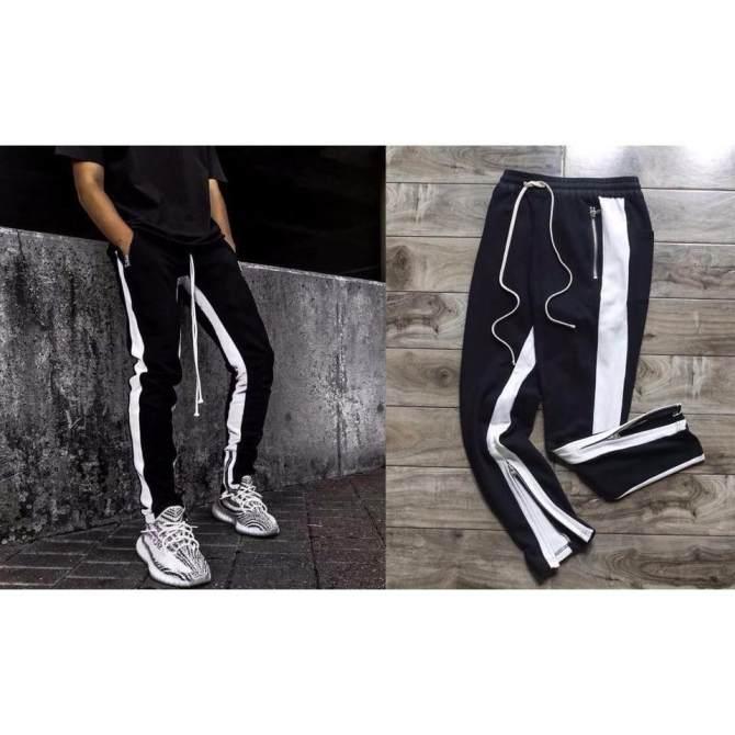 Hình ảnh Track Pants Zipper 2 Line - Retro Pants Zip Double Line - Quần nỉ khóa zip 2 sọc trong ngoài dây drawstring dài