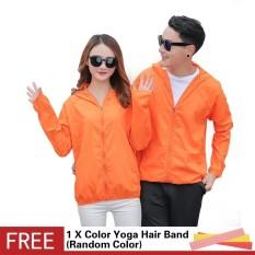 Ultra Light Folding Men Women Outdoor Sports Running UV Protector Waterproof Rain Skin Hooded Jacket Solid Color Cycling Coat - intl