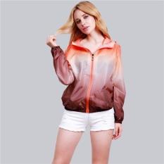 Unisex Fashion Slim Coat Outdoor Sports Uv Coat Clothingcoat Long Sleeved Womens Zipper Jacket Orange+Brown - intl