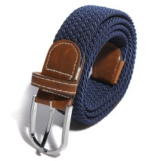 Unisex Men Canvas Elastic Woven Leather Pin Buckle Waist Belt Stretch Waistband - intl