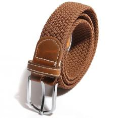 Mua Unisex Men Canvas Elastic Woven Leather Pin Buckle Waist Belt Stretch Waistband Intl Rẻ