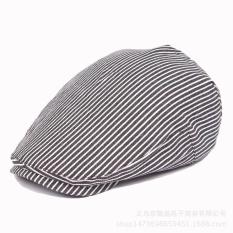 Hình ảnh Unisex Men Women Striped Caps Cotton Blend Beret Adjustable Hats New Fashion - intl