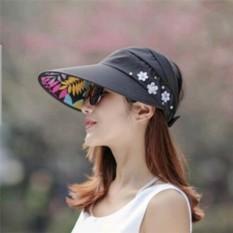 UV Bảo Vệ Nón Có Thể Gập Lại Lớn Vành Chế Nón Đi Biển Nón Ngoài Trời Thời Trang Màu đen-quốc tế Nhật Bản