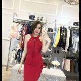 Váy đan ngực   Đen đỏ trắng