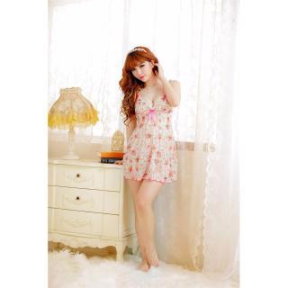 Váy ngủ 2 dây viền bèo hoa hồng CDAN41 Kim Phát - Hồng thumbnail