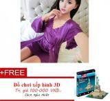 Mua Vay Ngủ Kem Ao Choang Phi Bong Cao Cấp De500 Trắng Xam Tặng Đồ Chơi Xếp Hinh 3D Mới