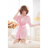 Váy ngủ nữ tay lửng kiêm áo choàng CDAN26  RainStore (hồng)