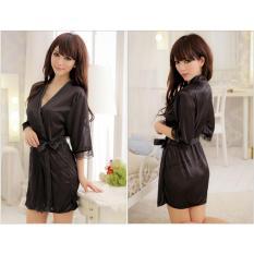 Váy ngủ nữ tay lửng kiêm áo choàng Chodeal24h (đen)
