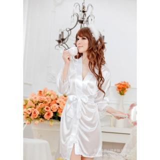 Váy ngủ nữ tay lửng kiêm áo choàng Chodeal24h (trắng) thumbnail