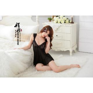 Váy ngủ thun co giãn nhún vai CDAN49 - Đen thumbnail