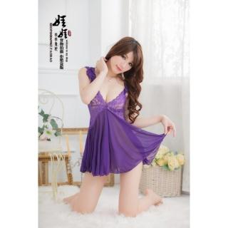 Váy ngủ thun co giãn nhún vai CDAN49 - Tím thumbnail