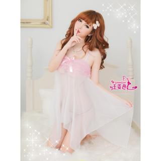 Váy ngủ tiên cá voan mỏng ren ngực CDAN38 Chodeal24h - Trắng ren hồng thumbnail