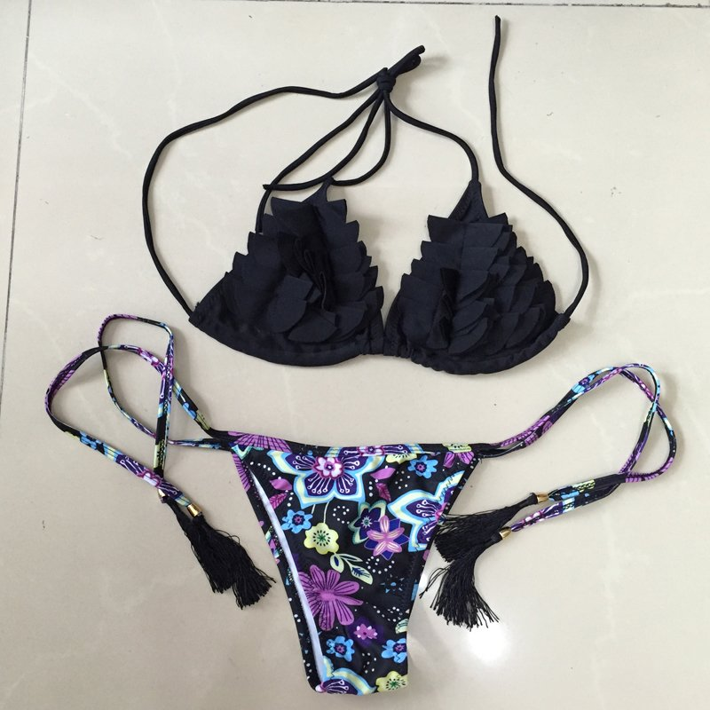 0cc426b4b7a Venus Queen Women s Ruffle Floral Print Push-Up Bra Vintage Sexy Plus Size  High Waist Summer Neoprene Bikini Set Swimsuit Swimwear Beachwear