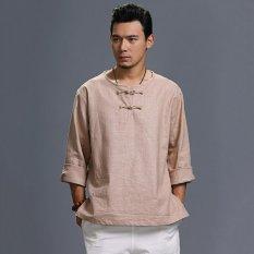 Hình ảnh Đầm Cotton nam Áo Sơ Mi Linen Dài Thun Áo Chui Đầu Áo Thun Áo Màu Be-intl