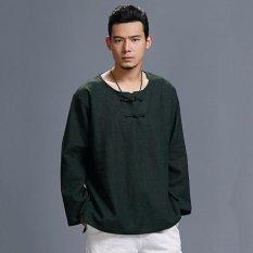 Hình ảnh Đầm Cotton nam Áo Sơ Mi Linen Dài Thun Áo Chui Đầu Áo Thun Áo Xanh Lá-quốc tế