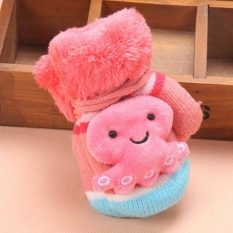 Giá bán Winter Baby gloves Hanging neck Mittens Creative Cartoon Children s Cute Knitted (Pink) - intl
