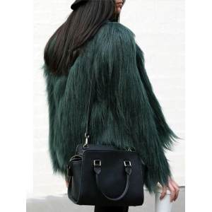 Hình ảnh Winter Fashion Casual Women Pure Color Long Sleeve Faux Fur Coats Deep Green