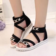 Hình ảnh Phụ nữ Flat Mùa Hè Da Mềm Giải Trí Giày Sandal Nữ Màu Đen-intl