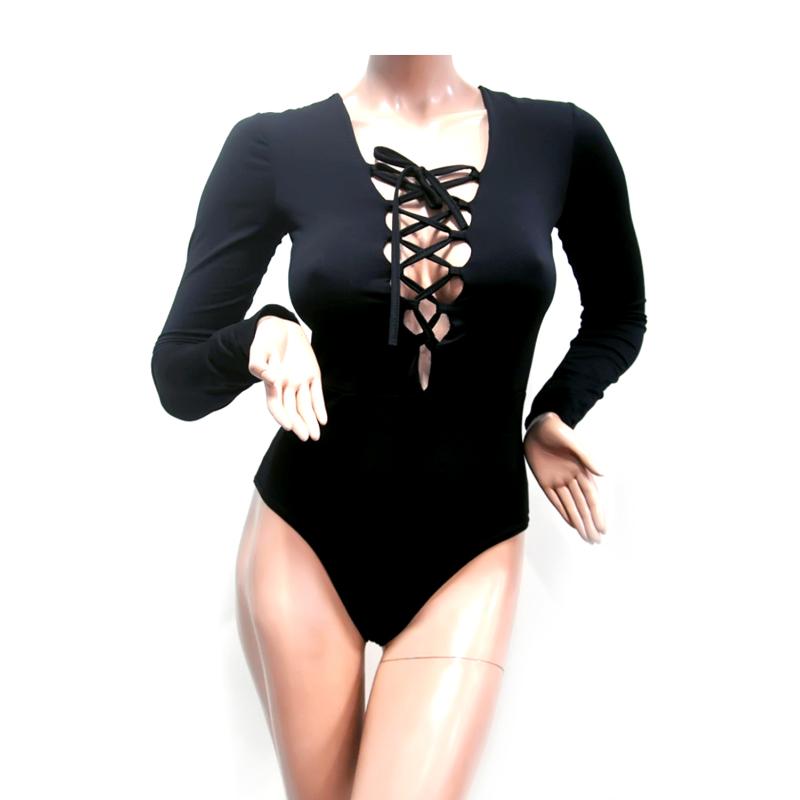 Nơi bán Áo Nữ Rỗng Buộc Dây Băng Chữ V Phối Tay Dài Liền quần Bikini Bodysuits Áo Sơ Mi Đen Size M