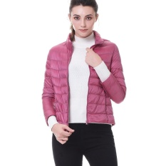Mã Khuyến Mại Women Light Down Jacket New Arrival Women Slim Thin Short 90 White Duck Extra Parka Sleeve Zipper Pockets Plus Size Solid Coats Parka Pink Intl Gamiss