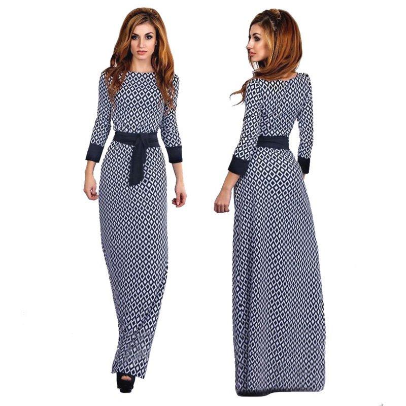 Phụ Nữ Dài Tay Áo Đầm Maxi Ả Rập Trung Đông Hồi Giáo May Mặc Abaya Kẻ Sọc Cao Cấp Đầm-Quốc Tế