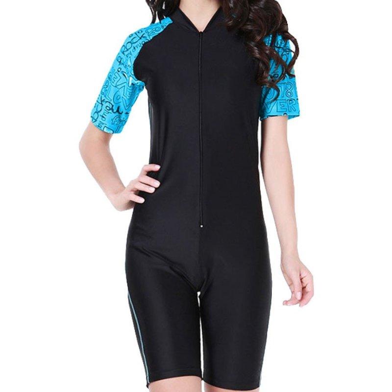 Nơi bán Women One Piece Swimwear Short Sleeve Swimsuit Summer Diving Snorkeling Swim Tee Wet Suit Rashguard - Blue - intl