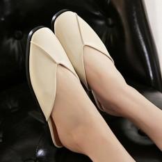 Women's Square Toe Flat Shoes Korean Casual Slippers - intl
